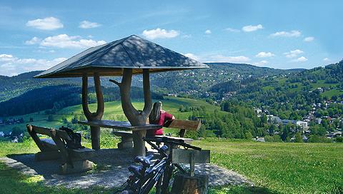 Cycling and mountain biking submontane mount Aschberg